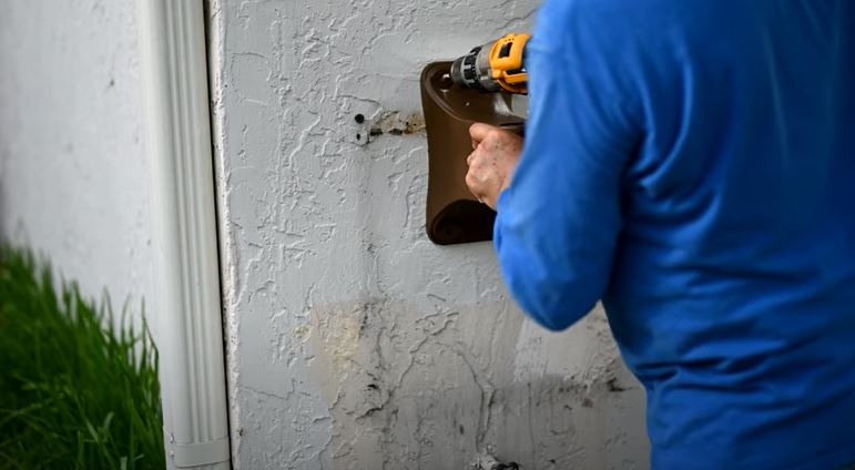 drill the hole to install hose reel
